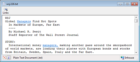PC screenshot depicting a text search hitlist with highlighted hits