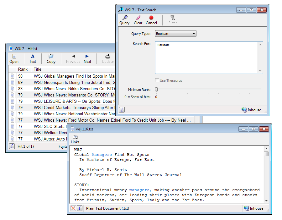 Screenshot representing Optix's Text Search feature for Windows